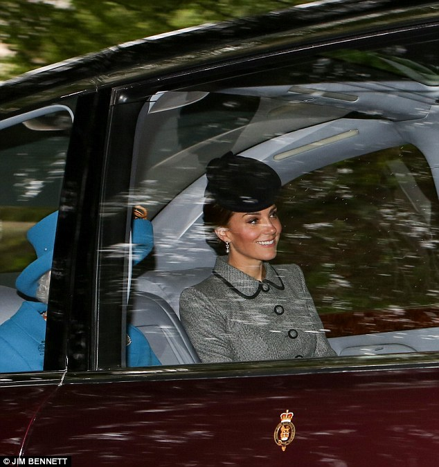 The Duchess of Cambridge, 36, rode in the backseat alongside the Queen, 92, in Her Majesty's Bentley as the royal family headed back to Balmoral following the service