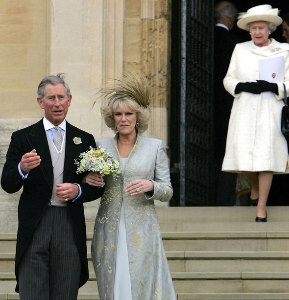The Queen follows Camilla and Charles outside the chapel after Prince Harry's wedding (Image GETTY )