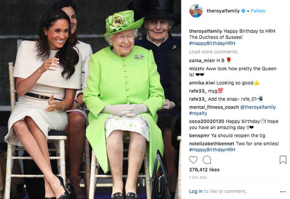 The Queen posted a lovely Instagram message for Meghan, to wish the Duchess of Sussex happy birthday (Image GETTY)