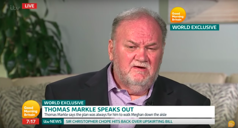 Thomas Markle has done several interviews revealing private details, including calling the royal family a cult. Source ITV