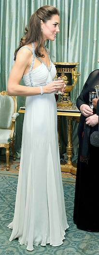 Kate dazzled in a silver-embellished vintage Amanda Wakeley dress Photo (C) GETTY IMAGES