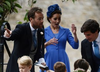 All the children wore bespoke outfits from Amaia Kids. Kate, 36, wore a periwinkle blue suit by Catherine Walker with a floral headpiece believed to be by Jane Taylor