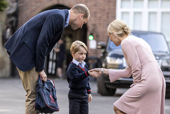 George, 5, looked nervous on his first day of school at Thomas's Battersea (Image GETTY)