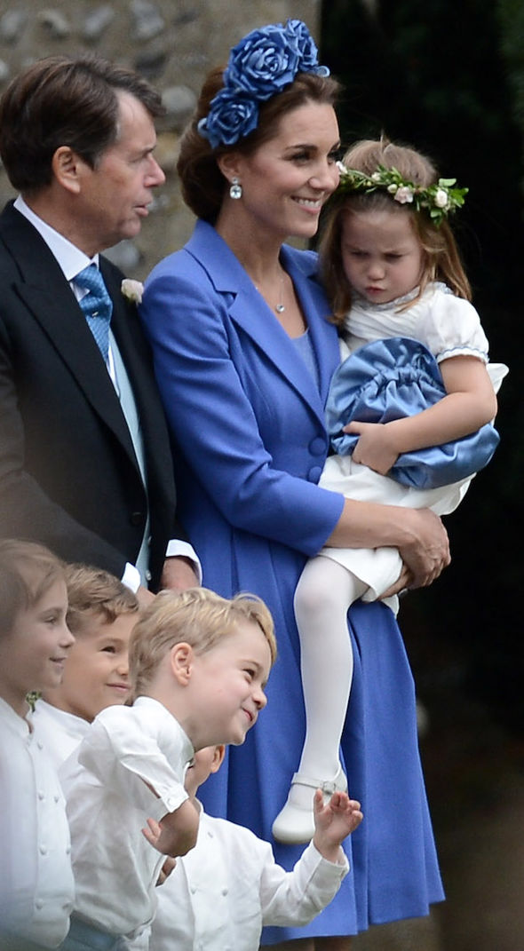 Kate and Prince George and Princess Charlotte at best friend Sophie Carter's wedding (Image NC)