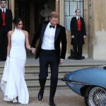 Meghan dazzles in Stella McCartney as she and Harry leave for their wedding reception (Image PA Wire PA Images