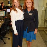 Mel C and Sarah Ferguson posed for photos on the trading floor Photo (C) GETTY