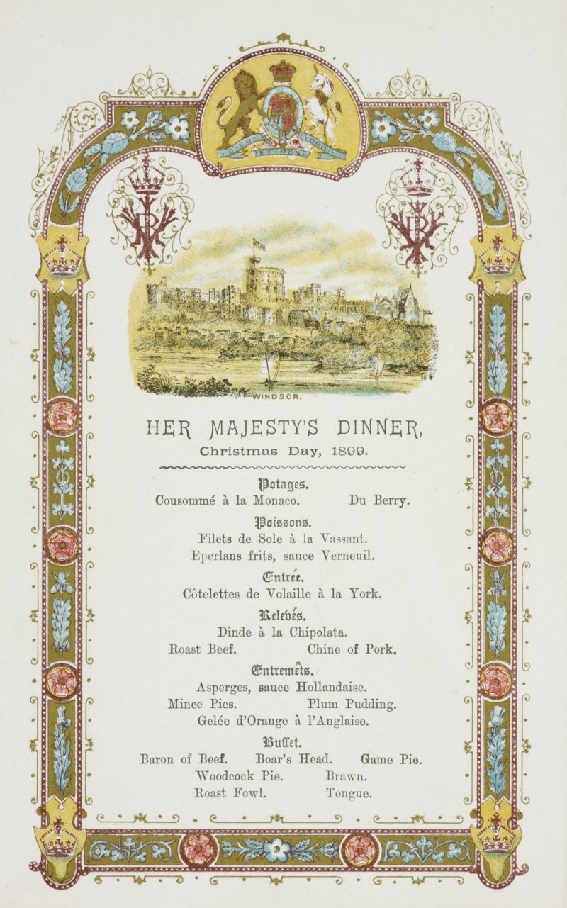 Menu for Queen Victoria's dinner, Christmas Day, 1899 (Royal Archives © Her Majesty Queen Elizabeth II 2018)