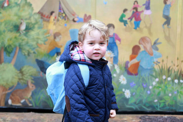 Prince George school George on his first day at Thomas's Battersea in 2017 (Image Getty)