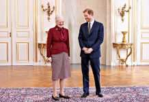 Prince Harry and Queen Margrethe II of Demnark pose for a photo at the Amalienborg Castle Photo (C) GETTY