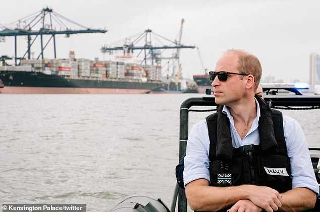 Prince William visited the port in Dar es Salaam (above) to witness some of the challenges faced in combating the illegal wildlife trade