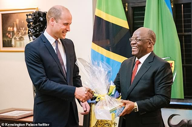 Prince William was greeted by Tanzania's president John Magufuli after arriving in Tanzania for the next stop of his African tour