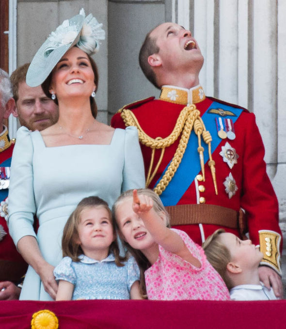 Princess Charlotte school Charlotte watching the RAF Trooping the Colour flypast in 2018 (Image Getty)