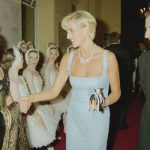Princess Diana and Mr Deane meeting the cast of an English National Ballet production of 'Swan Lake' (Image GETTY)