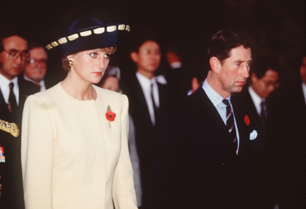 Princess Diana and Prince Charles on their last trip together as a married couple, in South Korea, November 1992, which saw them labelled 'The Glums' by the presPrincess Diana and Prince Charles on their last trip together as a married couple, in South Korea, November 1992, which saw them labelled 'The Glums' by the press. Photo Getty. Photo Getty