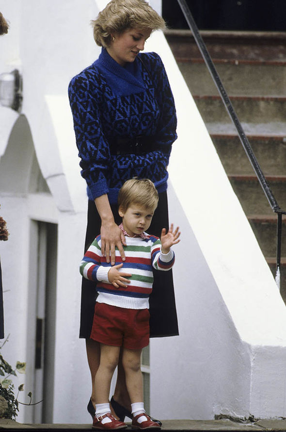 Princess Diana and Prince William on the prince's first day of nursery school in 1985 (Image GETTY)