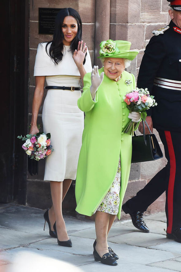 Queen Elizabeth II news With Meghan Markle earlier this year (Image Getty)