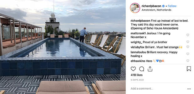 Richard Bacon posted a picture of the lavish hotel Photo (C) INSTAGRAMRICHARD BACON