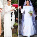 Similar Deniz Kaya's bridal outfit resembles Meghan Markle (Image Getty)