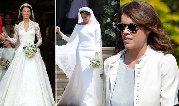 Talking to British Vogue Eugenie revealed her wedding dress designer is based in the UK (Image Getty Images)
