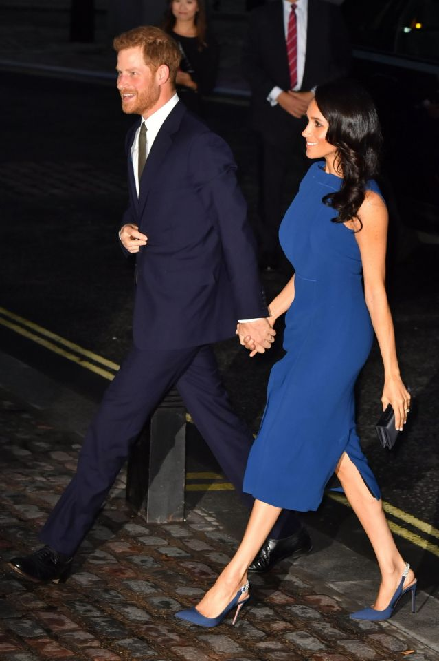 The Duchess of Sussex opted for a royal blue shift dress by Jason Wu for the prestigious evening of music Source PA
