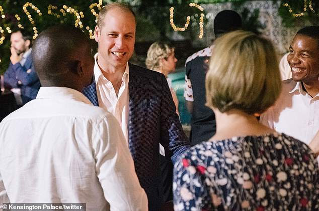 The Duke of Cambridge, 36, also attended a reception in Dar es Salaam (above) on Wednesday night, where he met with people working in conservation