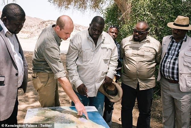 The Duke of Cambridge set off with a dedicated team of rangers to track a black rhino in Kunene, Namibia