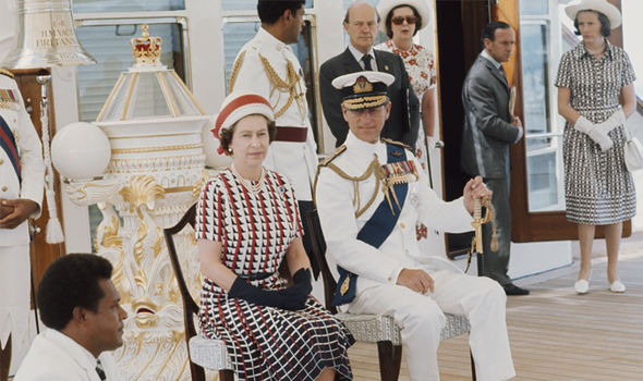 The Queen and Duke of Edinburgh onboard the Royal Yacht Britannia in 1977 (Image GETTY )
