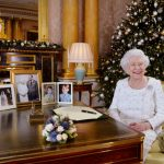 The Queen in the 1844 Room at Buckingham Palace after recording her Christmas Day broadcast in 2017 (Getty)
