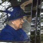 The Queen wore a royal blue dress coat and matching hat (Image WENN)