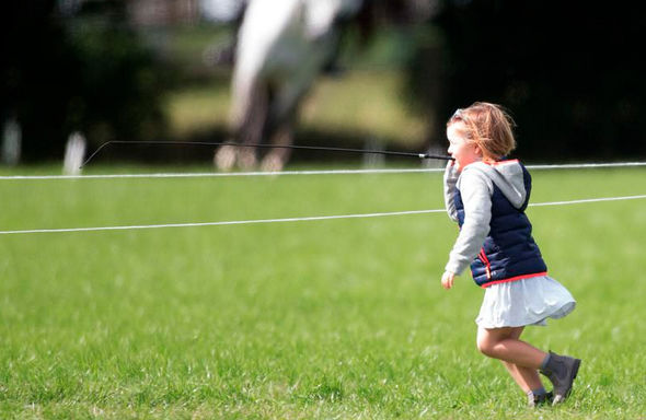 The imaginative four-year-old was seen mucking about with a horse crop (Image SWNS)