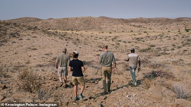 The royal set off with a dedicated team of rangers to track a black rhino in the Kunene region of Namibia on Tuesday
