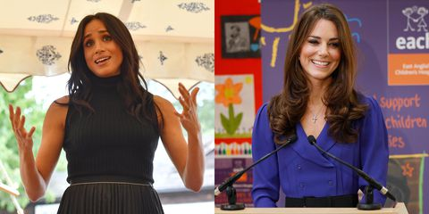Meghan Markle and Kate Middleton's First Solo Speeches as Royals, Compared Photo (C) GETTY