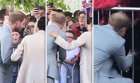 Meghan Markle pulled Prince Harry away from the crowd to have him greet an adorable dog (Image TWITTER Heart News South)