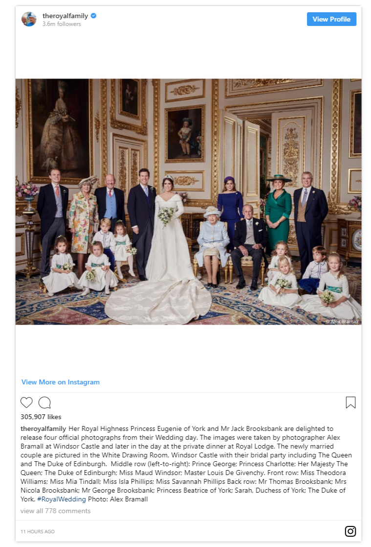 Happy Sunday The royal family have blessed us with the official wedding portraits from Princess Eugenies wedding and lets just say they are SO GOOD Photo C WPA POOL GETTY IAMGES