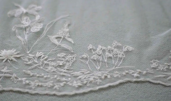 A close up of the veil shown in the documentary Queen of the World Image ITV