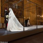 A highlight will be the brides 16ft long veil as seen on the bridal mannequin above which was embroidered with the flowers of all 53 countries of the Commonwealth