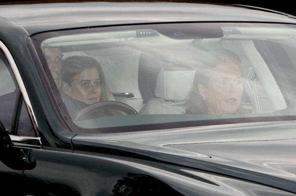 Andrew Sarah and Beatrice arrive at Windsor Castle Image REUTERS