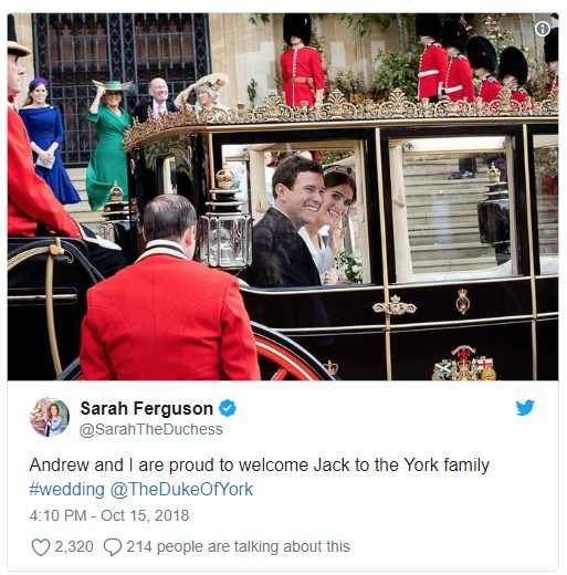 So proud of Eugenie and Jack wedding Photo C TWITTER