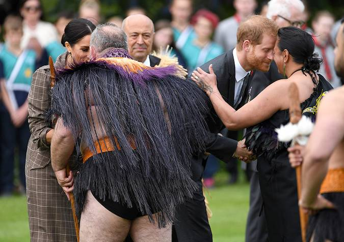 As they touched down in Wellington New Zealand the royals took part in a traditional hongi greeting – or nose kiss – at Government House Photo C GETTY