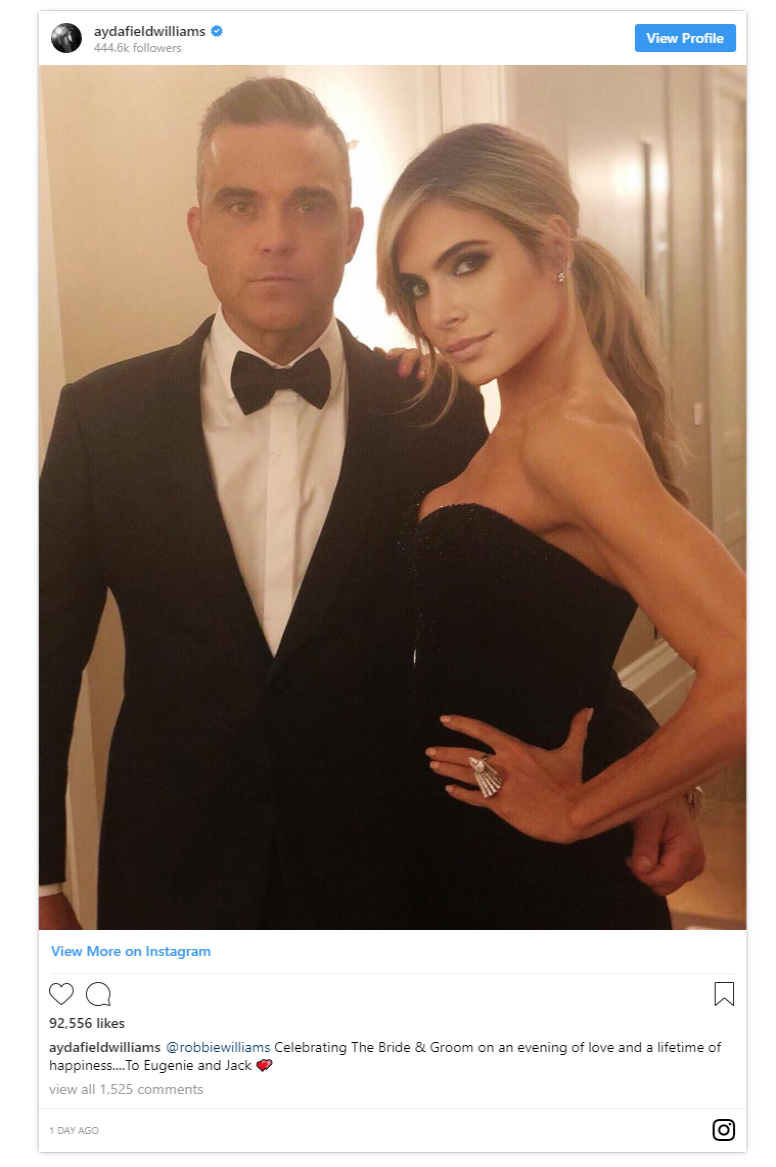 Ayda Field who is married to Robbie Williams posted a photo with her husband ahead of the evening reception revealing their second looks of the day Photo C INSTAGRAM