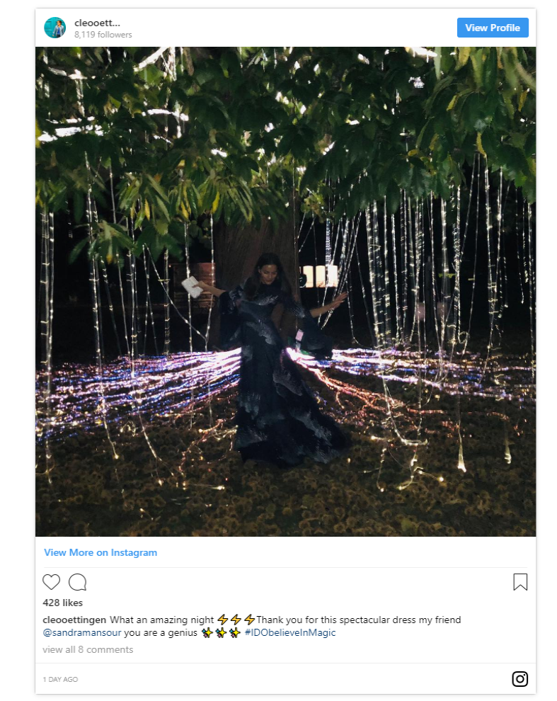 Baroness Cleopatra von Adelsheim von Ernest also took us behind the scenes of the sophisticated evening dinner sharing photos of the gorgeous lighting displays at the venue Photo C INSTAGRAM