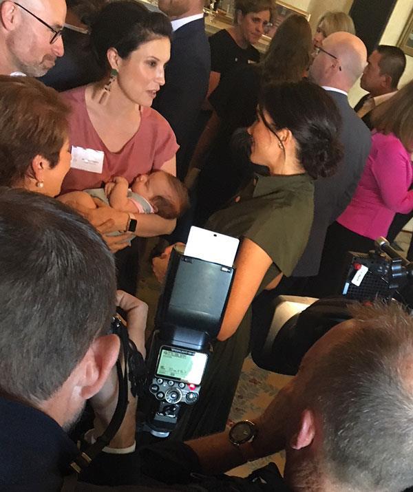 Bonding over babies Meghan make a beeline for would be singer Missy Higgins and her daughter Luna Image Juliet Rieden