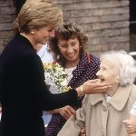 Diana wore the same bracelet as she greeted Nellie Corbett during her visit to the Lord Gage Centre in Newham East London on September 18 1990 pictured