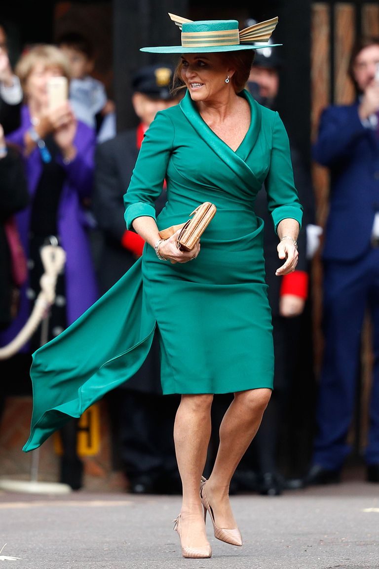 Sarah Ferguson widely referred to as Fergie and today as Mother of the Bride arrived to her daughter Princess Eugenies wedding in a perfectly Photo C Getty Images ADRIAN DENNIS