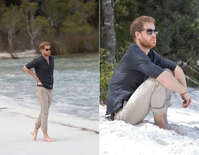 Fans swooned when they saw photos of Harry enjoying a rare moment of tranquillity walking along the shore of Lake McKenzie Photo C GETTY