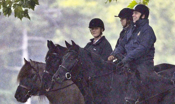 Fergie looked all smiles during a horse ride with Princess Beatrice and Prince Andrew Image MARK KEHOE