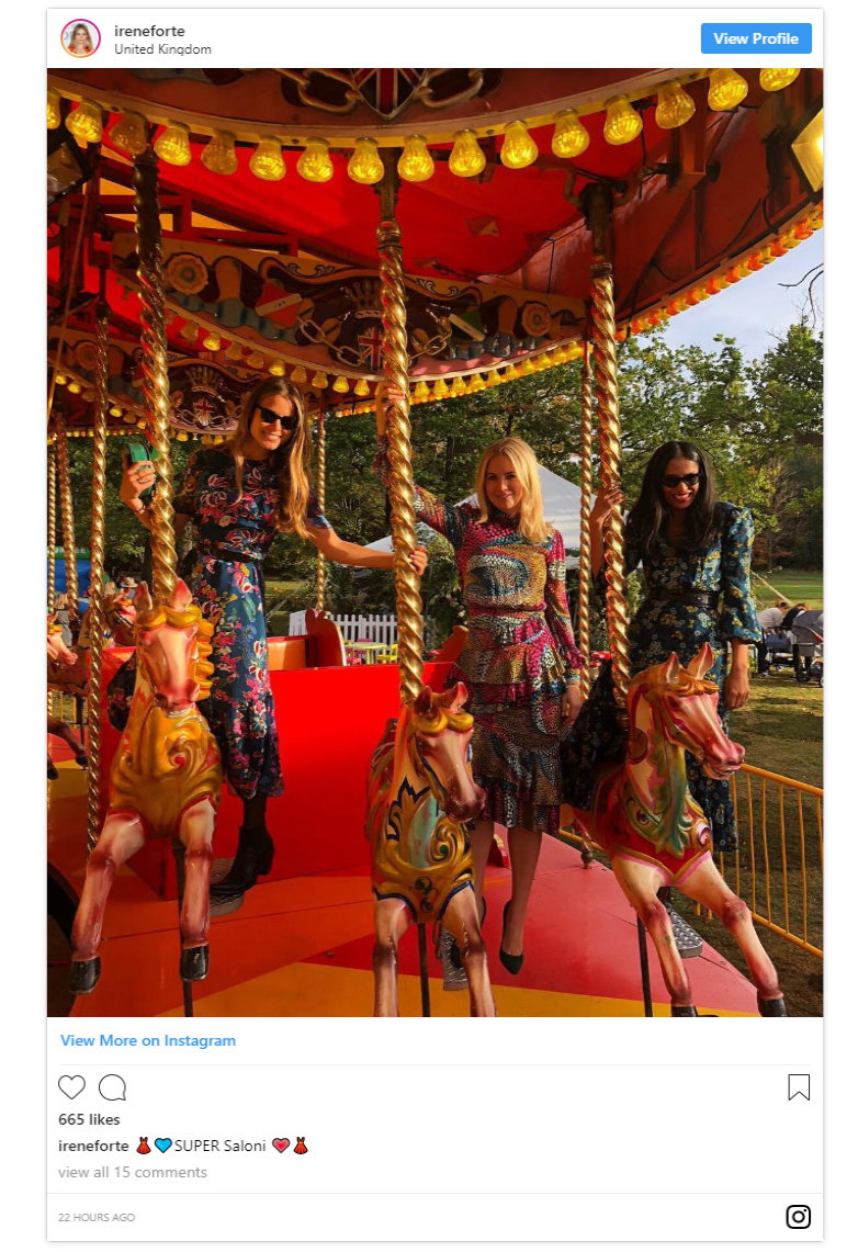 Guest Irene Forte shared a photo taken on a carousel from inside the second day event which looks truly magical Photo C INSTAGRAM