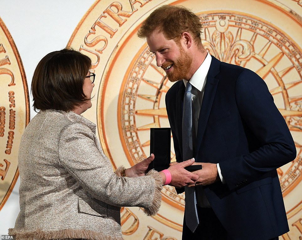 Harry accepted an award for outstanding contribution to global conservation on behalf of his grandmother the Queen