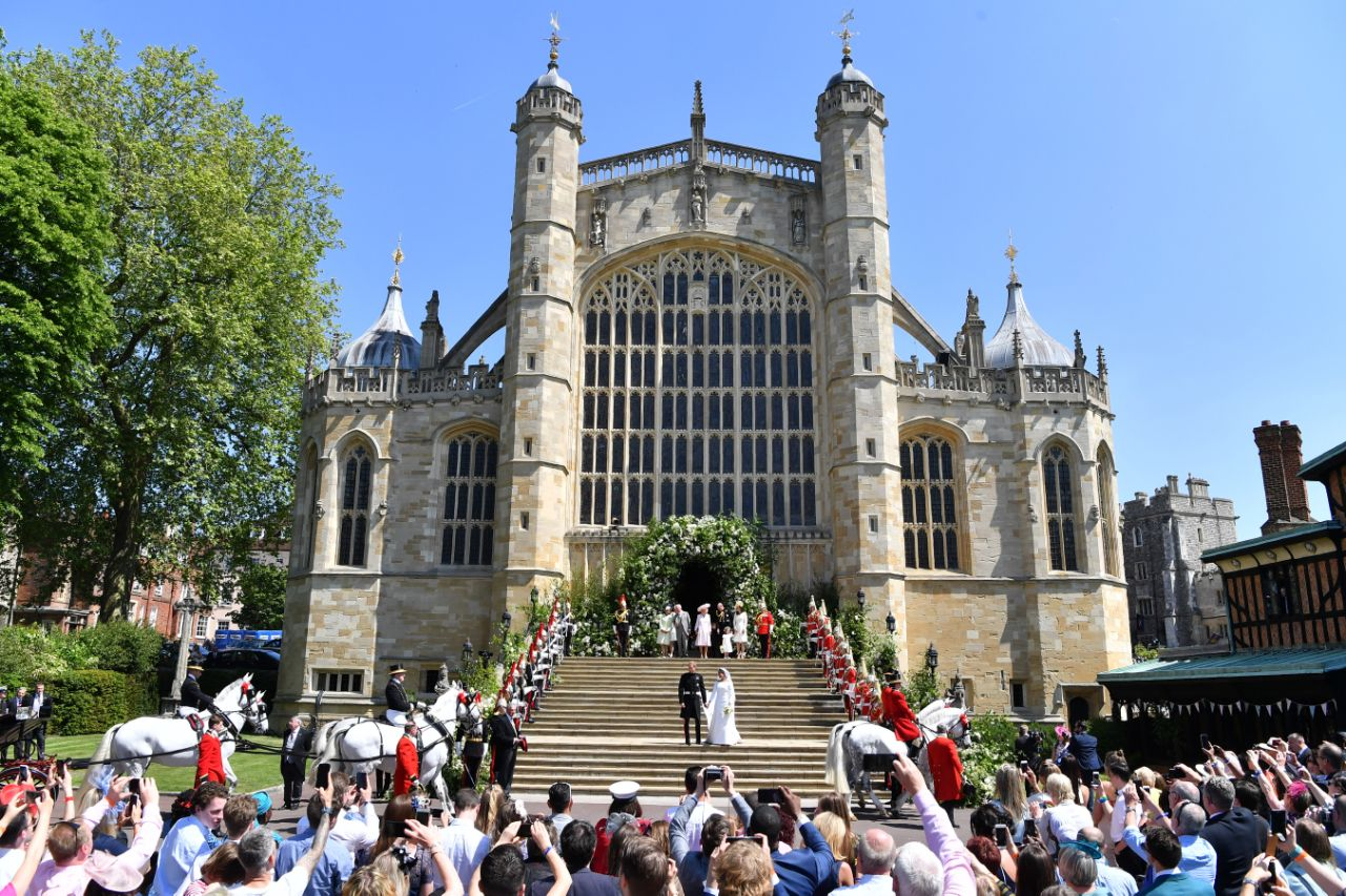 Harry and Meghan's ceremony on Saturday, May 19 started at noon London time and Like Harry and Meghan, Eugenie and Jack will have their ceremony at St. George's Chapel, Windsor Castle. Photo Getty