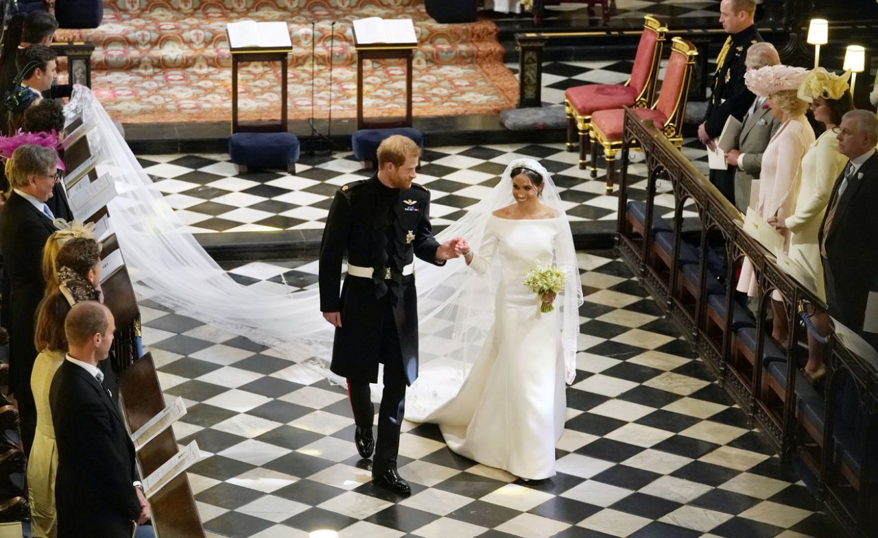 Harry and Meghan, Eugenie and Jack will likely have an evening reception the night they say 'I do' as well. Photo Getty